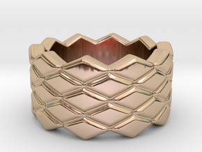 Rhombus Ring 21 – Italian Size 21 in 14k Rose Gold Plated Brass