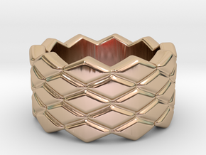 Rhombus Ring 23 – Italian Size 23 in 14k Rose Gold Plated Brass