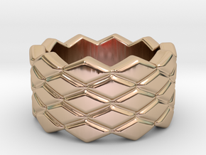 Rhombus Ring 26 – Italian Size 26 in 14k Rose Gold Plated