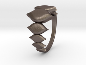 Fashion Fire Ring 1009 in Polished Bronzed Silver Steel