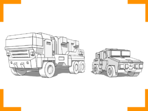 'Hev' Truck + 'Moose' Car combo 6mm in White Strong & Flexible