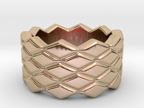 Rhombus Ring 29 – Italian Size 29 in 14k Rose Gold Plated Brass