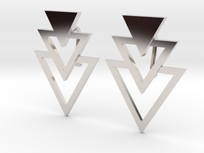 Earring Triangles in Rhodium Plated Brass