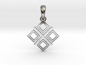 Makosh slavic simbol (Mother's amulet) in Fine Detail Polished Silver