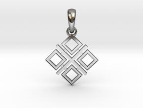 Makosh slavic simbol (Mother's amulet) in Fine Detail Polished Silver