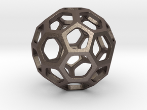 Truncated Icosahedron pendant in Polished Bronzed Silver Steel