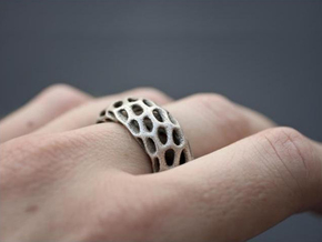 Trous Ring in Raw Silver