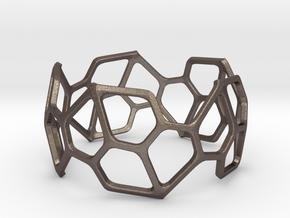 Pentagonal Hexacontahedron Bracelet Small in Polished Bronzed Silver Steel