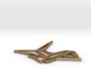 Pendant Origami Crane in Matte Gold Steel