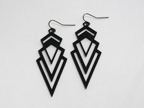 Art Deco Earrings - Valorous in Black Natural Versatile Plastic