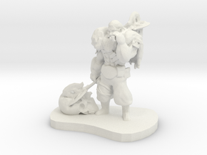 Barbarian Warrior Figurine in White Natural Versatile Plastic