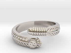 Feather ring in Rhodium Plated Brass
