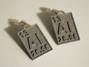 Aluminum Periodic Table Earrings in Gray Professional Plastic