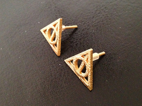 Harry Potter Earrings Deathly Hallows Studs in Polished Bronzed Silver Steel