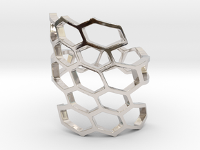 HoneyComb Ring4 in Rhodium Plated Brass