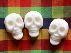 Sugar Skull Mold in White Natural Versatile Plastic