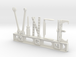 Vince Nametag with Posts in White Natural Versatile Plastic