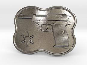 Walther P38 Belt Buckle in Polished Nickel Steel