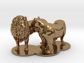 African Lion & Lioness in Natural Brass