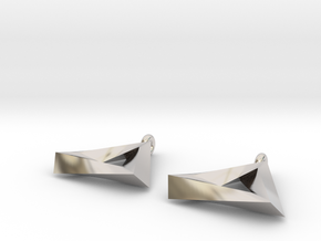 Penrose Triangle - Earrings (17mm | 2x mirrored) in Rhodium Plated Brass
