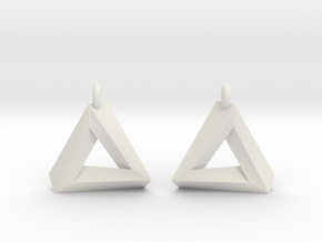 Penrose Triangle - Earrings (17mm | 1x mirrored) in White Natural Versatile Plastic