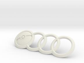 Audi Emblem Pokemon PokeBall 7.5 Inch in White Strong & Flexible