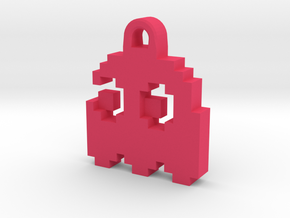 Pac Man Ghost 8-bit Earring 2 (looks left) in Pink Strong & Flexible Polished