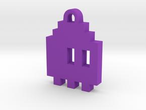 Pac Man Ghost 8-bit Earring 1 (looks right) in Purple Processed Versatile Plastic