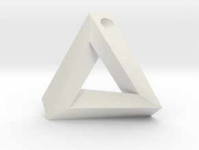 Penrose Triangle - Pendant (3.5cm | 3mm hole) in White Natural Versatile Plastic