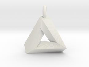 Penrose Triangle - Pendant (3cm   3.5mm O-Ring) in White Natural Versatile Plastic