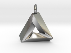 Penrose Triangle - Pendant (3cm | 3.5mm O-Ring) in Natural Silver