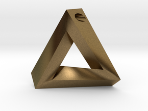 Penrose Triangle - Pendant (3.5cm | 3mm hole) in Natural Bronze