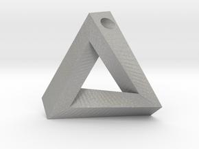 Penrose Triangle - Pendant (3.5cm | 3mm hole) in Aluminum