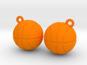 Basketball Solid Earrings in Orange Processed Versatile Plastic