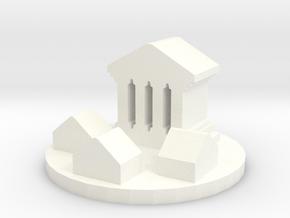 Game Piece, Ancient Greco-Roman City Token in White Processed Versatile Plastic