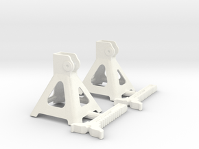 1/12 Jack Stand Pair in White Strong & Flexible Polished