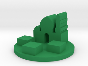 Game Piece, Medieval Arabic City Token in Green Processed Versatile Plastic