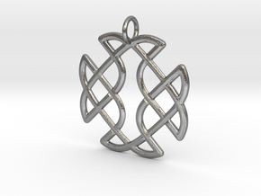 Celtic Square Cross Pendant in Natural Silver