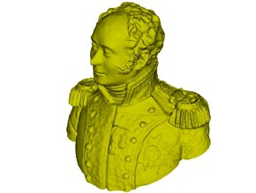 1/9 scale General Joseph Piston bust in Smooth Fine Detail Plastic