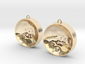 "Double Tenor ""damntingself"" earrings, L in 14K Yellow Gold"