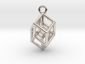 Hypercube Tesseract Pendant in Platinum