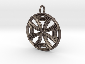 Ancient Cross Pendant in Polished Bronzed Silver Steel