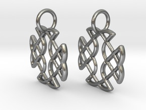 Celtic Square Cross earrings in Natural Silver