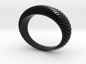Blaadjesarmband-taps / Leaves bracelet tapered in Black Natural Versatile Plastic: Medium