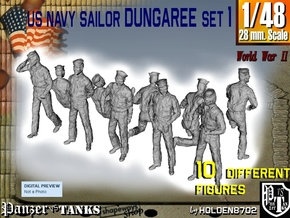 1-48 US Navy Dungaree Set 1 in Smooth Fine Detail Plastic