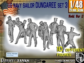 1-48 US Navy Dungaree Set 3 in Smooth Fine Detail Plastic