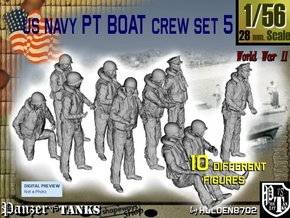 1-56 US Navy PT Boat Crew Set5 in Smooth Fine Detail Plastic