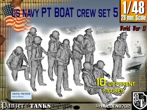 1-48 US Navy PT Boat Crew Set5 in Smooth Fine Detail Plastic