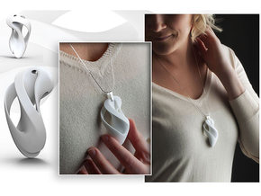 Pierced & Twisted Pendant Variant - 02 in White Natural Versatile Plastic