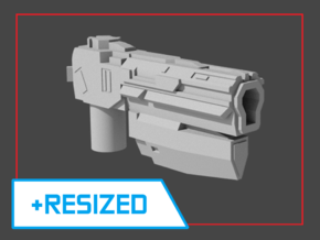 """Sentinel"" Pistol RESIZED 5mm post in White Natural Versatile Plastic"